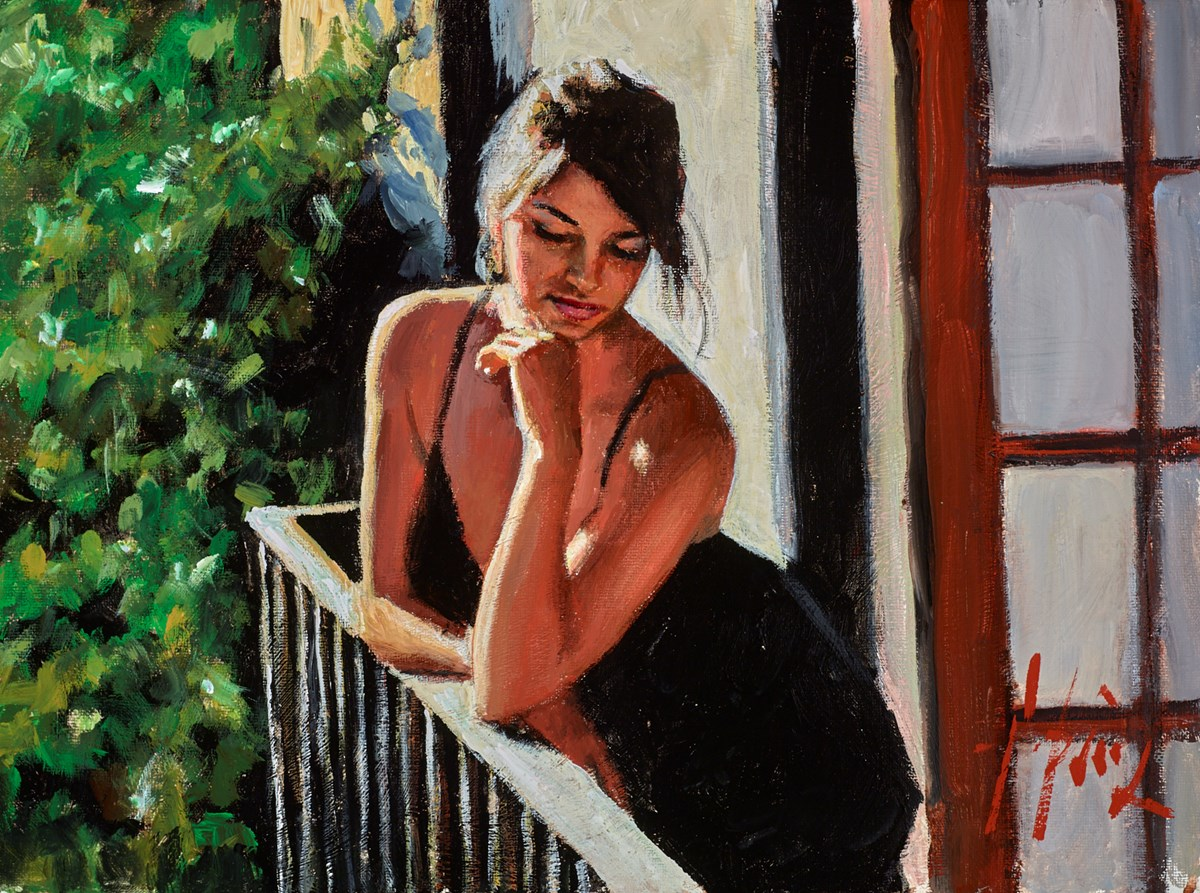 Saba at the Balcony (In Black) by fabian perez -  sized 16x12 inches. Available from Whitewall Galleries
